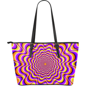 Yellow Splashing Moving Optical Illusion Leather Tote Bag GearFrost