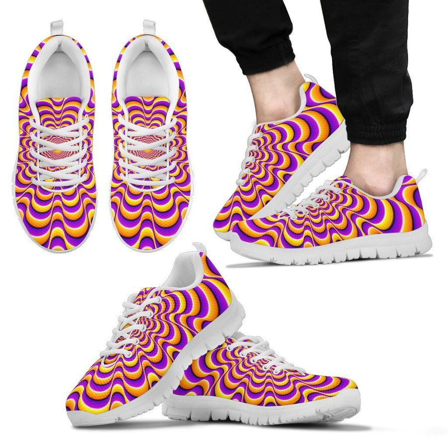 Yellow Splashing Moving Optical Illusion Men's Sneakers GearFrost