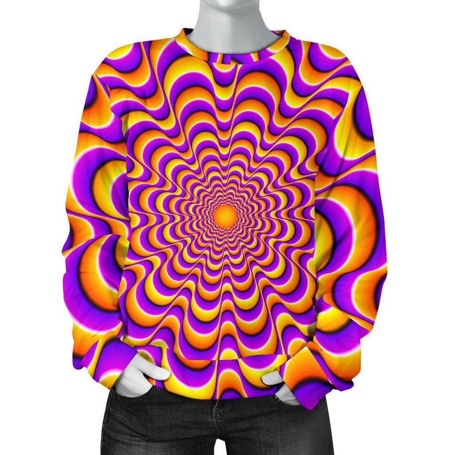 Yellow Splashing Moving Optical Illusion Women's Crewneck Sweatshirt GearFrost