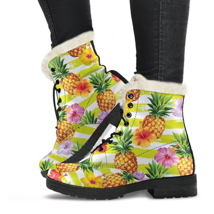 Yellow Striped Pineapple Pattern Print Comfy Boots GearFrost