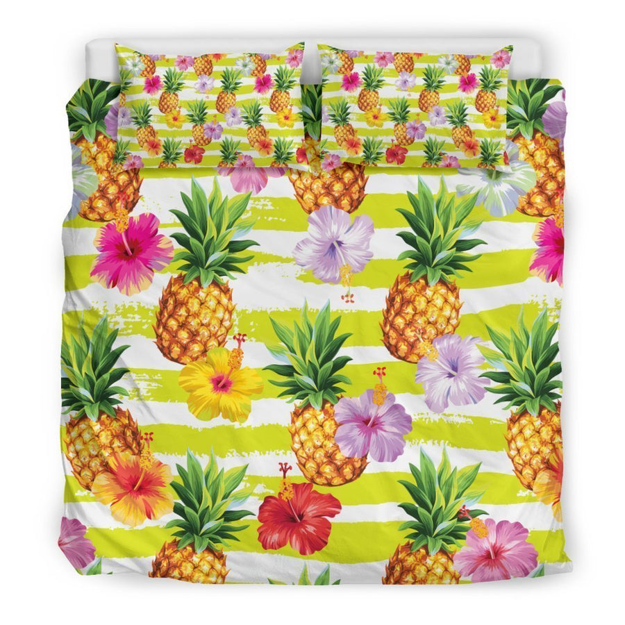 Yellow Striped Pineapple Pattern Print Duvet Cover Bedding Set GearFrost