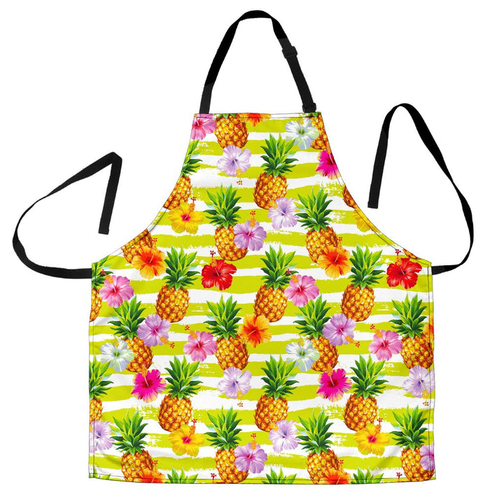 Yellow Striped Pineapple Pattern Print Men's Apron GearFrost