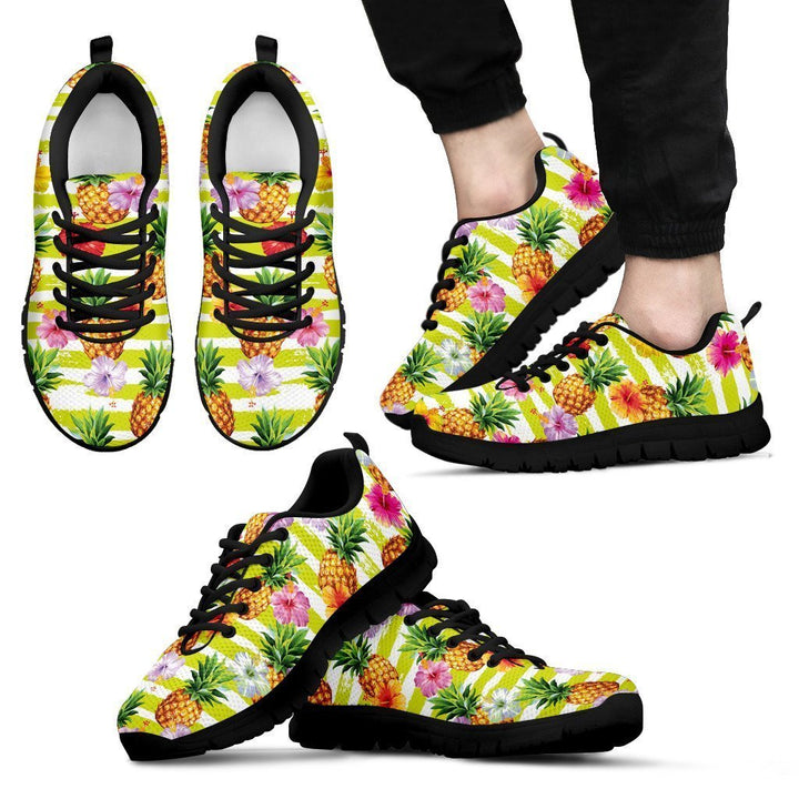Yellow Striped Pineapple Pattern Print Men's Sneakers GearFrost