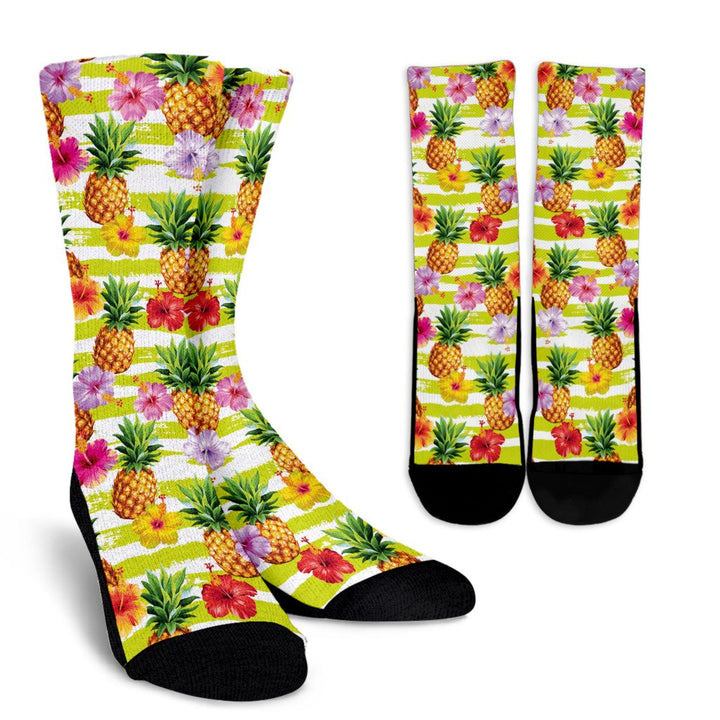 Yellow Striped Pineapple Pattern Print Unisex Crew Socks GearFrost