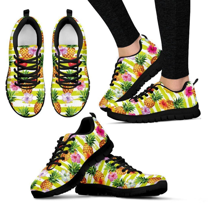 Yellow Striped Pineapple Pattern Print Women's Sneakers GearFrost