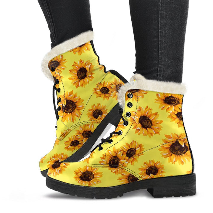 Yellow Sunflower Pattern Print Comfy Boots GearFrost
