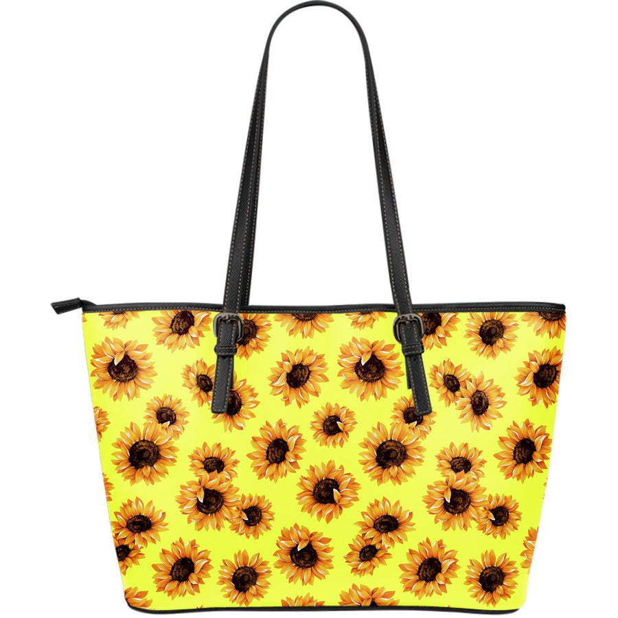 Yellow Sunflower Pattern Print Leather Tote Bag GearFrost