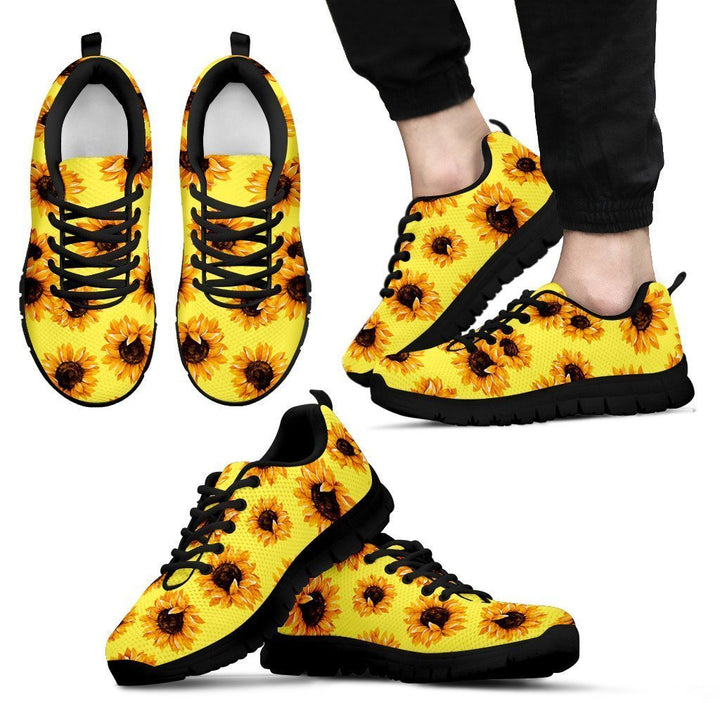 Yellow Sunflower Pattern Print Men's Sneakers GearFrost