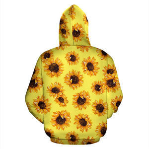 Yellow Sunflower Pattern Print Pullover Hoodie GearFrost