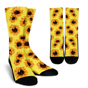 Yellow Sunflower Pattern Print Unisex Crew Socks GearFrost