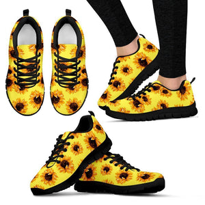 Yellow Sunflower Pattern Print Women's Sneakers GearFrost