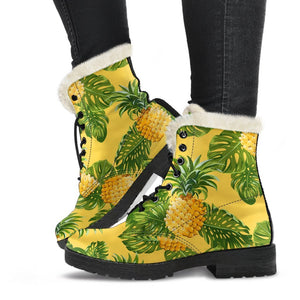 Yellow Tropical Pineapple Pattern Print Comfy Boots GearFrost