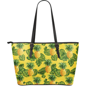 Yellow Tropical Pineapple Pattern Print Leather Tote Bag GearFrost