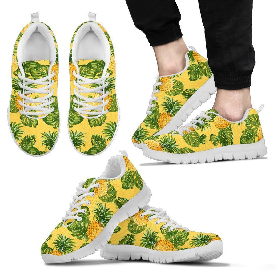 Yellow Tropical Pineapple Pattern Print Men's Sneakers GearFrost