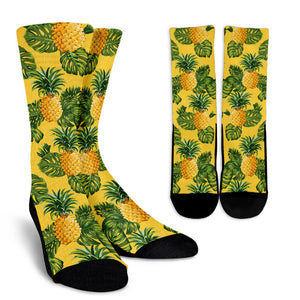 Yellow Tropical Pineapple Pattern Print Unisex Crew Socks GearFrost