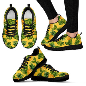 Yellow Tropical Pineapple Pattern Print Women's Sneakers GearFrost