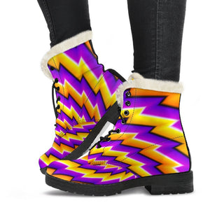 Yellow Twisted Moving Optical Illusion Comfy Boots GearFrost