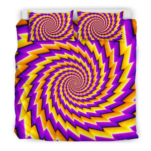 Yellow Twisted Moving Optical Illusion Duvet Cover Bedding Set GearFrost