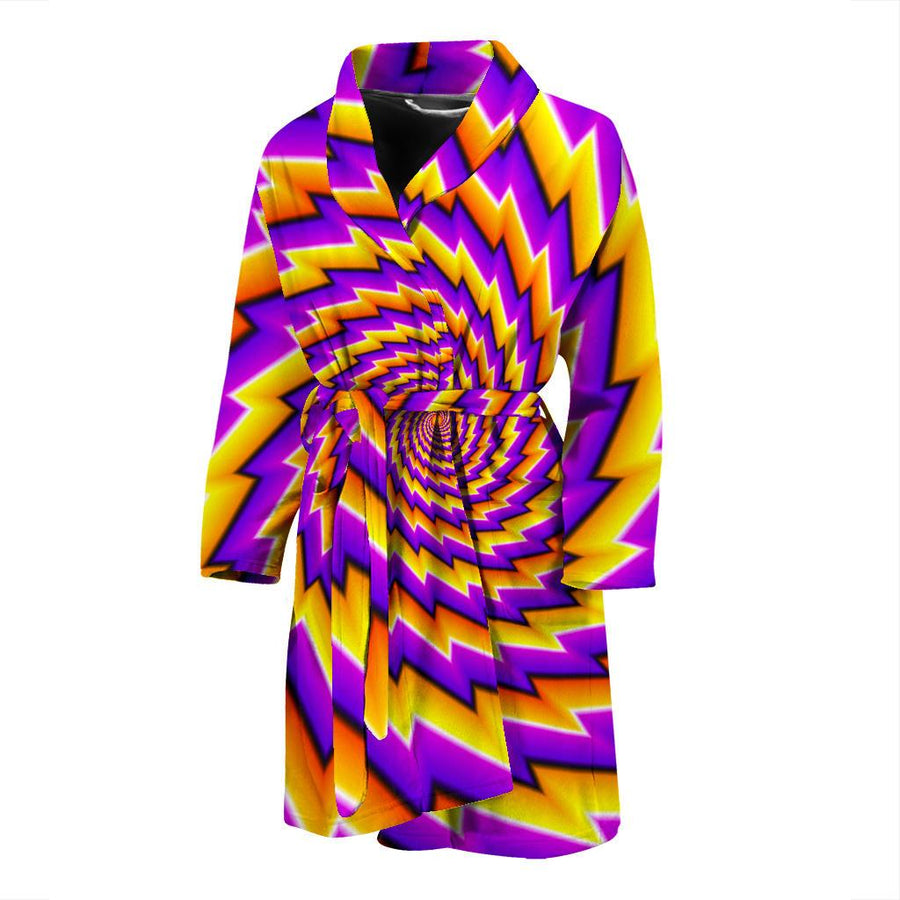 Yellow Twisted Moving Optical Illusion Men's Bathrobe GearFrost