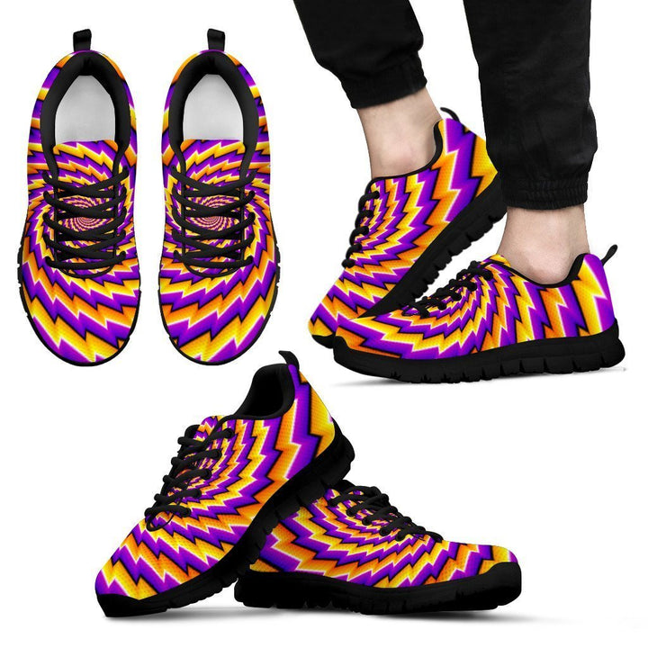 Yellow Twisted Moving Optical Illusion Men's Sneakers GearFrost