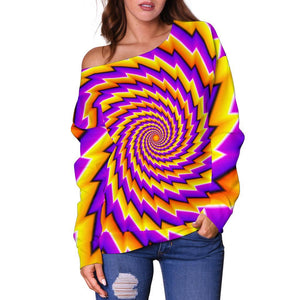 Yellow Twisted Moving Optical Illusion Off Shoulder Sweatshirt GearFrost