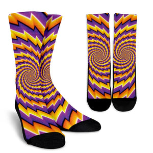 Yellow Twisted Moving Optical Illusion Unisex Crew Socks GearFrost