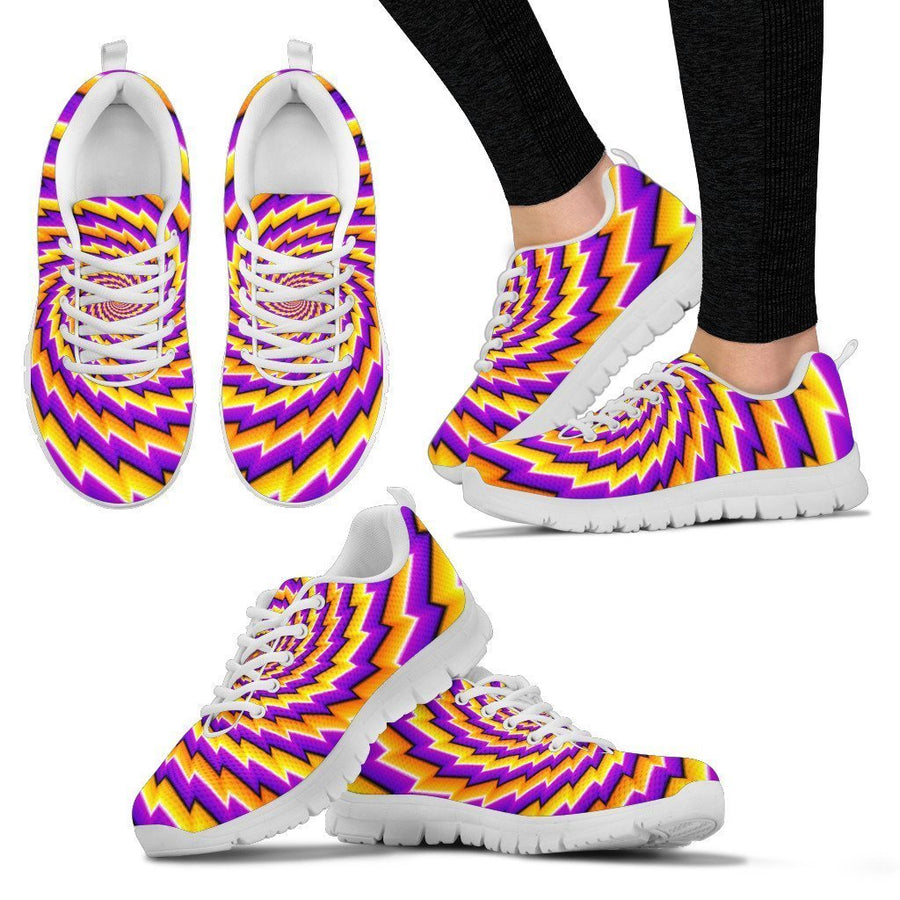 Yellow Twisted Moving Optical Illusion Women's Sneakers GearFrost