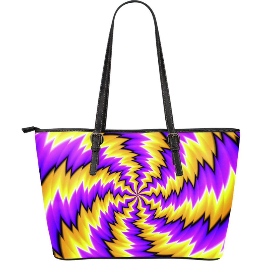 Yellow Vortex Moving Optical Illusion Leather Tote Bag GearFrost