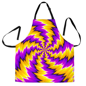 Yellow Vortex Moving Optical Illusion Men's Apron GearFrost