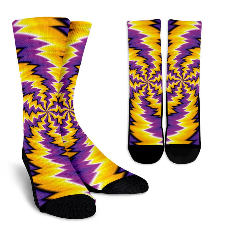 Yellow Vortex Moving Optical Illusion Unisex Crew Socks GearFrost