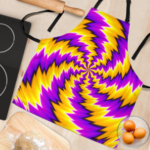 Yellow Vortex Moving Optical Illusion Women's Apron GearFrost
