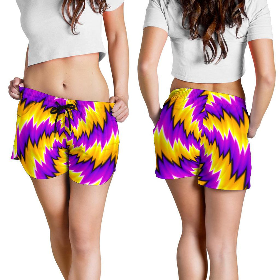 Yellow Vortex Moving Optical Illusion Women's Shorts GearFrost
