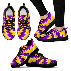 Yellow Vortex Moving Optical Illusion Women's Sneakers GearFrost