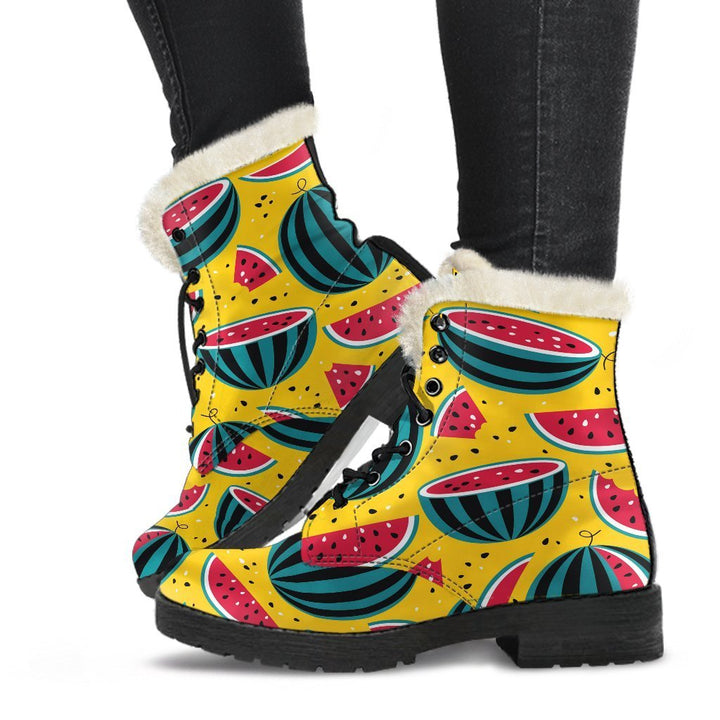 Yellow Watermelon Pieces Pattern Print Comfy Boots GearFrost