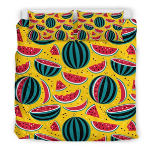 Yellow Watermelon Pieces Pattern Print Duvet Cover Bedding Set GearFrost