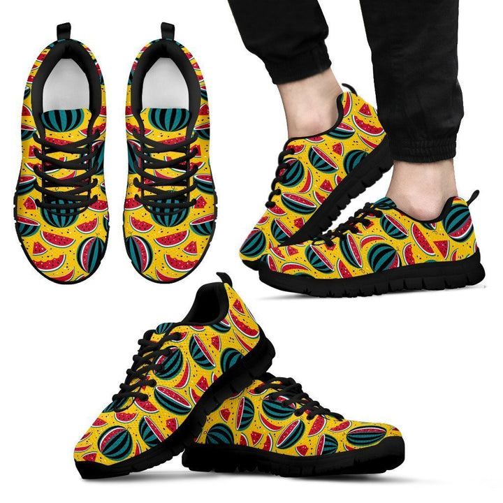 Yellow Watermelon Pieces Pattern Print Men's Sneakers GearFrost