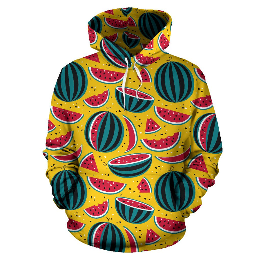 Yellow Watermelon Pieces Pattern Print Pullover Hoodie GearFrost