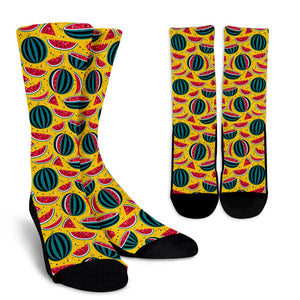 Yellow Watermelon Pieces Pattern Print Unisex Crew Socks GearFrost