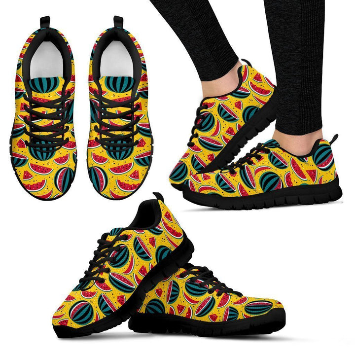 Yellow Watermelon Pieces Pattern Print Women's Sneakers GearFrost