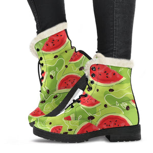 Yummy Watermelon Pieces Pattern Print Comfy Boots GearFrost