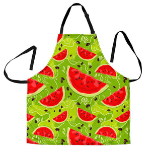 Yummy Watermelon Pieces Pattern Print Men's Apron GearFrost
