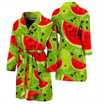 Yummy Watermelon Pieces Pattern Print Men's Bathrobe GearFrost