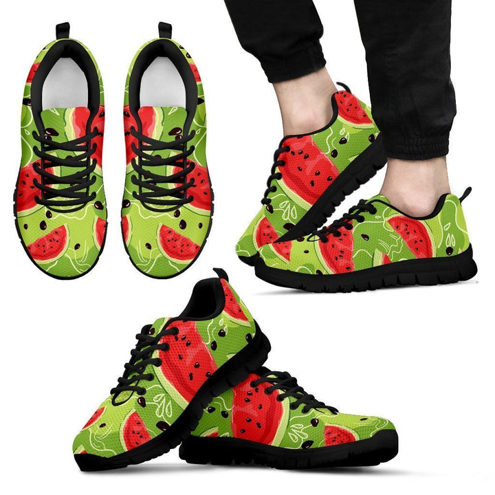 Yummy Watermelon Pieces Pattern Print Men's Sneakers GearFrost