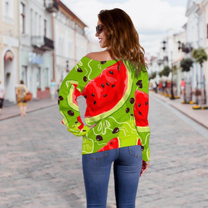 Yummy Watermelon Pieces Pattern Print Off Shoulder Sweatshirt GearFrost