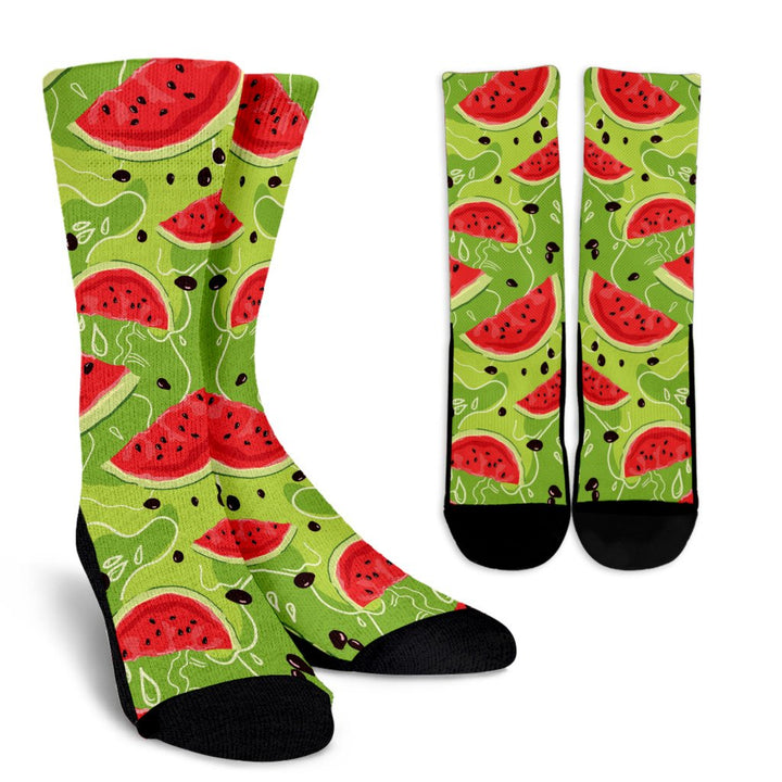 Yummy Watermelon Pieces Pattern Print Unisex Crew Socks GearFrost