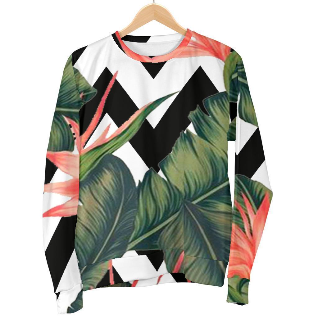 Zig Zag Tropical Pattern Print Men's Crewneck Sweatshirt GearFrost
