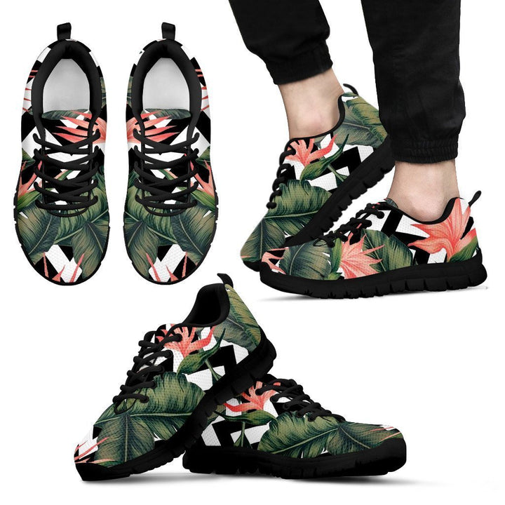 Zig Zag Tropical Pattern Print Men's Sneakers GearFrost