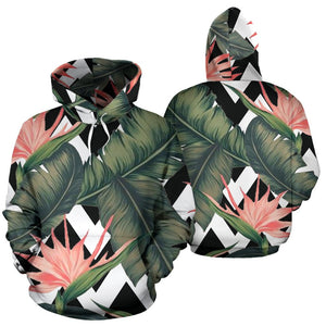 Zig Zag Tropical Pattern Print Pullover Hoodie GearFrost