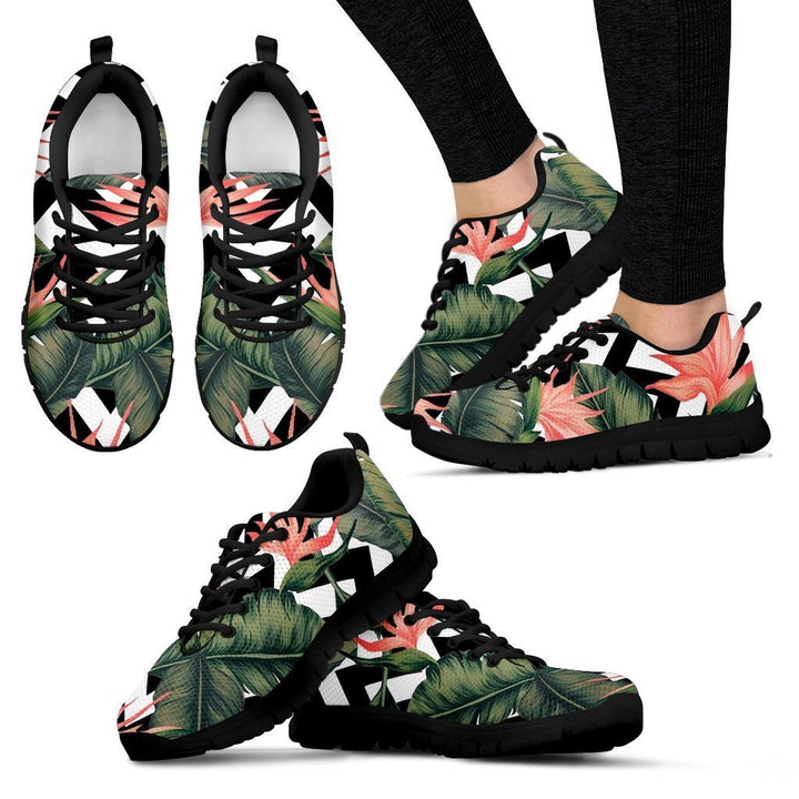 Zig Zag Tropical Pattern Print Women's Sneakers GearFrost