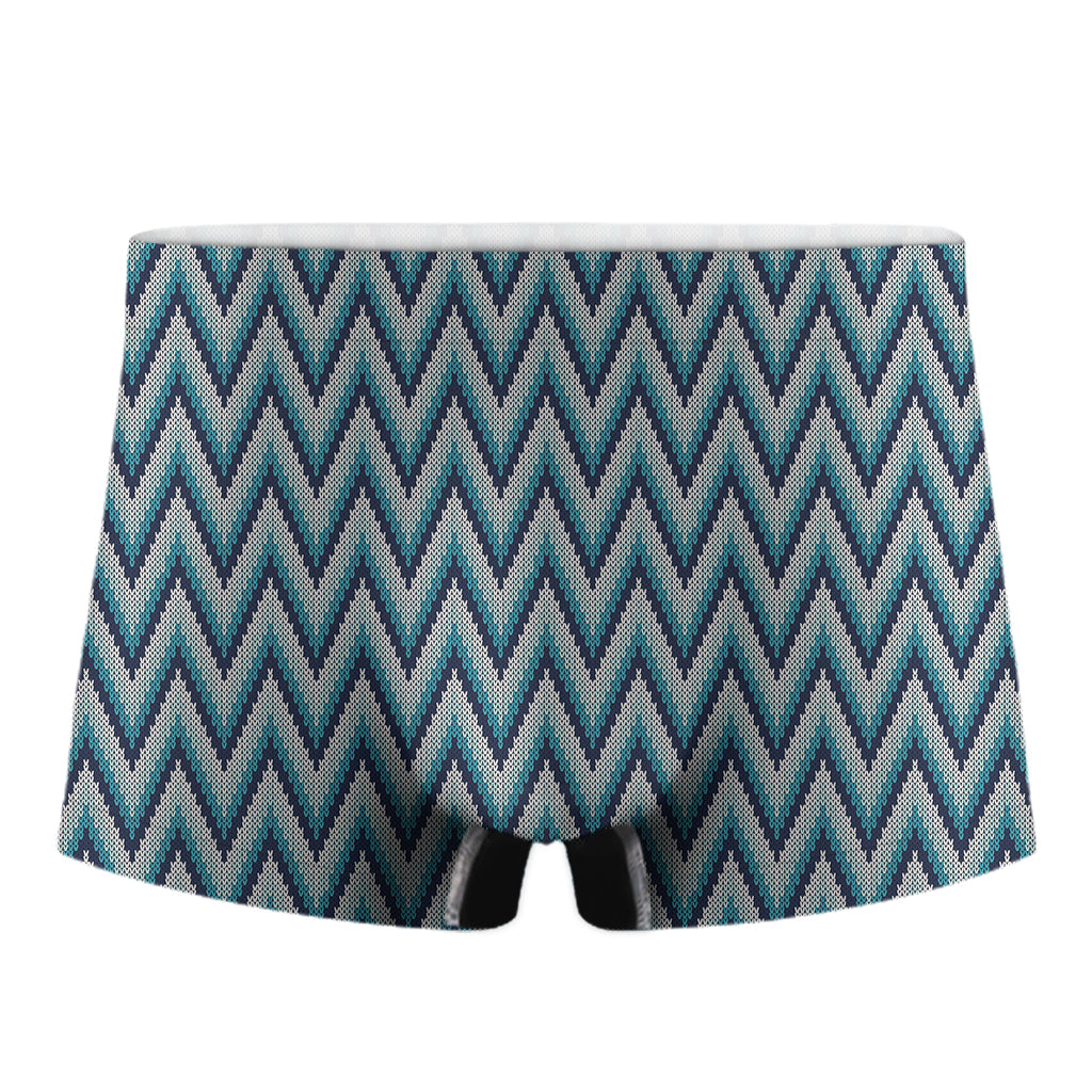 Zigzag Knitted Pattern Print Men's Boxer Briefs